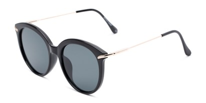 Angle of Charlotte #97011 in Black Frame with Grey Lenses, Women's Round Sunglasses