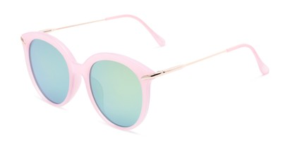 Angle of Charlotte #97011 in Pink Frame with Green Mirrored Lenses, Women's Round Sunglasses