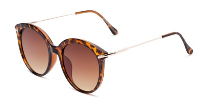 Angle of Charlotte #97011 in Tortoise Frame with Amber Lenses, Women's Round Sunglasses