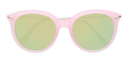 Folded of Charlotte #97011 in Pink Frame with Green Mirrored Lenses