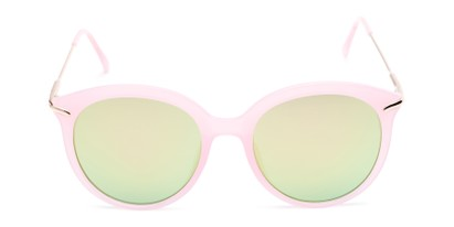 Front of Charlotte #97011 in Pink Frame with Green Mirrored Lenses