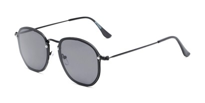 Angle of Chase #7532 in Black Frame with Smoke Lenses, Women's and Men's Round Sunglasses