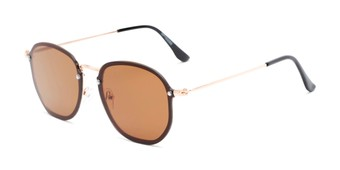 Angle of Chase #7532 in Gold Frame with Amber Lenses, Women's and Men's Round Sunglasses