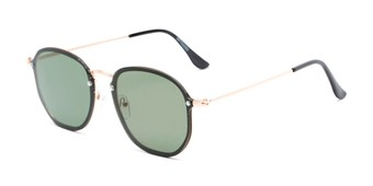 Angle of Chase #7532 in Gold Frame with Green Lenses, Women's and Men's Round Sunglasses