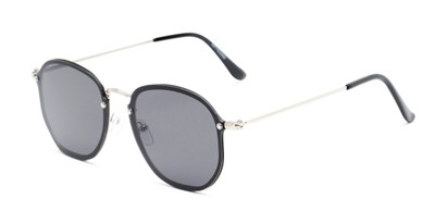 Angle of Chase #7532 in Silver Frame with Smoke Lenses, Women's and Men's Round Sunglasses
