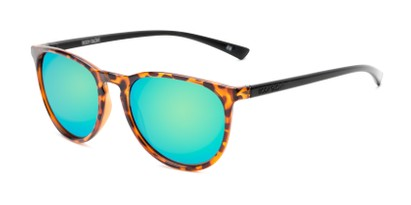 Angle of Cloudbreak by Body Glove in Tortoise/Black Frame with Green/Blue Mirrored Lenses, Women's and Men's Round Sunglasses