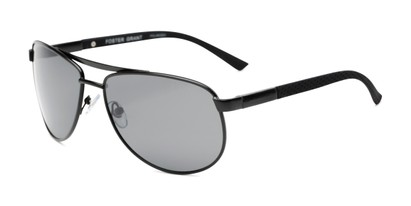 Angle of Cole by Foster Grant in Black Frame with Smoke Lenses, Men's Aviator Sunglasses