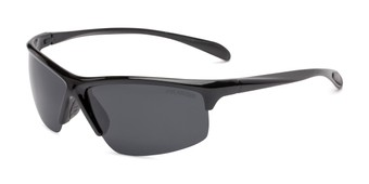 Angle of Colt #9821 in Glossy Black Frame with Grey Lenses, Women's and Men's Sport & Wrap-Around Sunglasses
