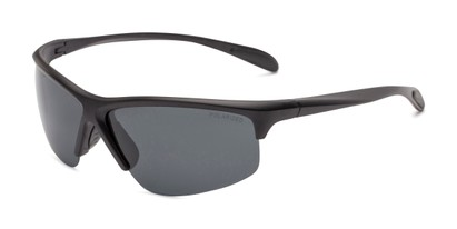 Angle of Colt #9821 in Matte Black Frame with Grey Lenses, Women's and Men's Sport & Wrap-Around Sunglasses