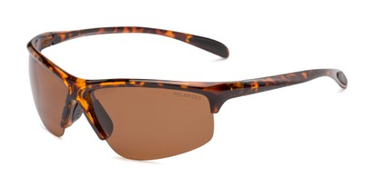 Angle of Colt #9821 in Tortoise Frame with Brown Lenses, Women's and Men's Sport & Wrap-Around Sunglasses