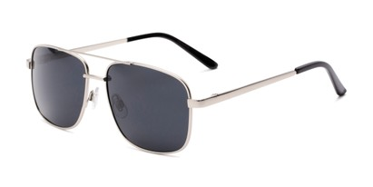 Angle of Commander #2168 in Silver Frame with Grey Lenses, Women's and Men's Aviator Sunglasses