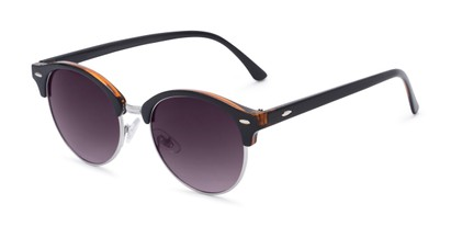 Angle of Cook #6373 in Black/Orange Frame with Smoke Lenses, Women's and Men's Browline Sunglasses