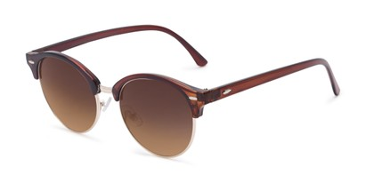 Angle of Cook #6373 in Brown/Gold Frame with Amber Lenses, Women's and Men's Browline Sunglasses