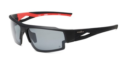 Angle of Corner by IRONMAN Triathlon in Matte Black/Red Frame with Smoke Lenses, Men's Sport & Wrap-Around Sunglasses