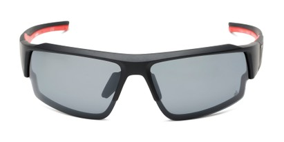 Front of Corner by IRONMAN Triathlon in Matte Black/Red Frame with Smoke Lenses