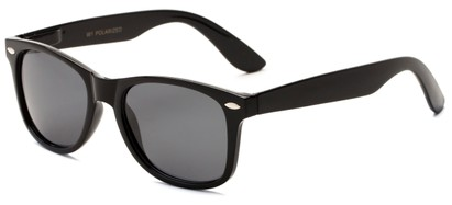 Angle of Cove #9966 in Black Frame with Grey Lenses, Women's and Men's Retro Square Sunglasses