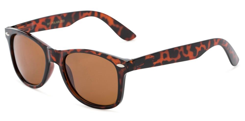 Polarized Retro Metal Square Mens Sunglasses Brown Frame