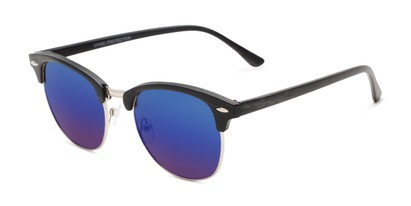 Angle of Damien in Black Frame/Silver with Blue Mirrored Lenses, Women's and Men's Browline Sunglasses
