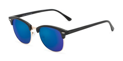 Angle of Damien in Black Frame with Blue Mirrored Lenses, Women's and Men's Browline Sunglasses