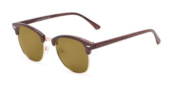 Angle of Damien #6822 in Brown Frame with Gold Mirrored Lenses, Women's and Men's Browline Sunglasses