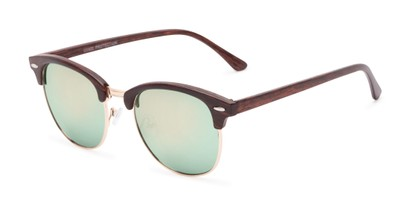 Angle of Damien #6822 in Brown Frame with Green Mirrored Lenses, Women's and Men's Browline Sunglasses