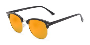 Angle of Damien in Black Frame with Orange Mirrored Lenses, Women's and Men's Browline Sunglasses