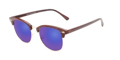 Angle of Damien in Brown Frame/Gold with Purple/Blue Mirrored Lenses, Women's and Men's Browline Sunglasses