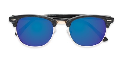Folded of Damien #6822 in Black Frame with Blue Mirrored Lenses
