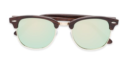 Folded of Damien #6822 in Brown Frame with Green Mirrored Lenses