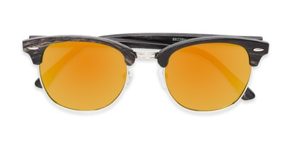 Folded of Damien #6822 in Black Frame with Orange Mirrored Lenses
