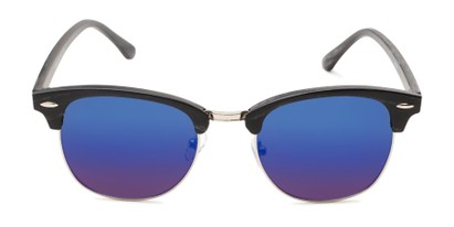 Front of Damien in Black Frame/Silver with Blue Mirrored Lenses