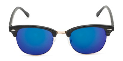 Front of Damien #6822 in Black Frame with Blue Mirrored Lenses