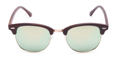 Front of Damien in Brown Frame with Green Mirrored Lenses