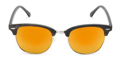 Front of Damien in Black Frame with Orange Mirrored Lenses
