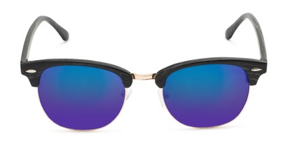Front of Damien in Black Frame/Gold with Purple Mirrored Lenses
