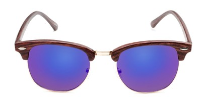Front of Damien in Brown Frame/Gold with Purple/Blue Mirrored Lenses