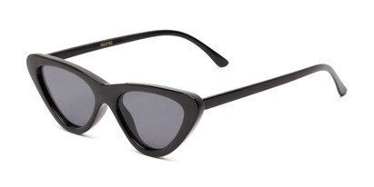 Angle of Dane #1623 in Black Frame with Grey Lenses, Women's Cat Eye Sunglasses