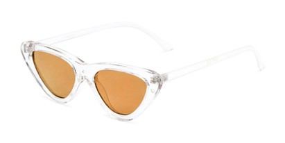 Angle of Dane #1623 in Clear Frame with Gold Mirrored Lenses, Women's Cat Eye Sunglasses