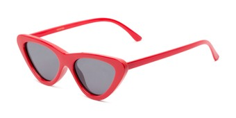 Angle of Dane #1623 in Red Frame with Grey Lenses, Women's Cat Eye Sunglasses