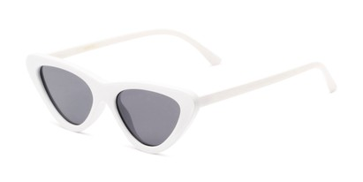 Angle of Dane #1623 in White Frame with Grey Lenses, Women's Cat Eye Sunglasses