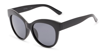 Angle of Daphne #0077 in Black Frame with Grey Lenses, Women's Cat Eye Sunglasses