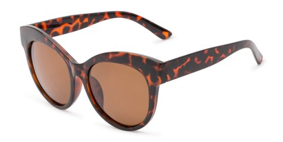 Angle of Daphne #0077 in Tortoise Frame with Amber Lenses, Women's Cat Eye Sunglasses