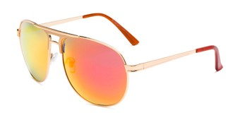 Angle of Darius in Gold Frame with Red/Orange Mirrored Lenses, Men's Aviator Sunglasses