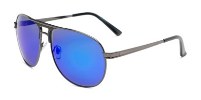 Angle of Darius in Grey Frame with Blue Mirrored Lenses, Men's Aviator Sunglasses
