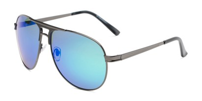 Angle of Darius in Grey Frame Blue/Green Mirrored Lenses, Men's Aviator Sunglasses