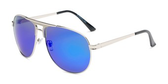 Angle of Darius in Silver Frame with Blue Mirrored Lenses, Men's Aviator Sunglasses