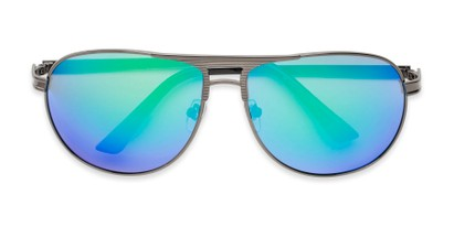 Folded of Darius in Grey Frame Blue/Green Mirrored Lenses