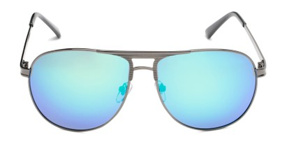 Front of Darius in Grey Frame Blue/Green Mirrored Lenses