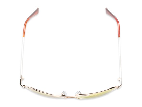 Overhead of Darius in Gold Frame with Red/Orange Mirrored Lenses