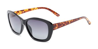 Angle of Geneva #5686 in Black/Brown Tortoise Frame with Smoke Lenses, Women's Cat Eye Sunglasses